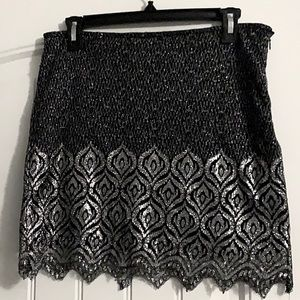 FREE PEOPLE Black/silver party skirt, size 6